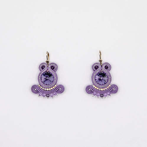 Purple Passementerie Earrings with 925 Silver
