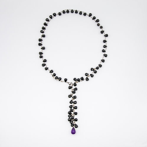 Briolette-Cut Onyx  Necklace with Briolette-Cut Amethyst