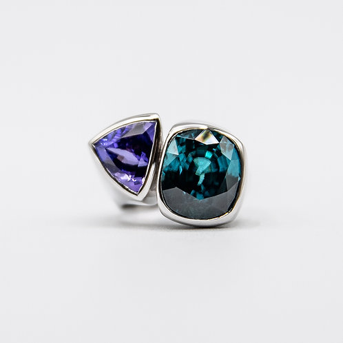 Pagana Atelier White Gold Ring with Tanzanite and Blue Natural Zircon