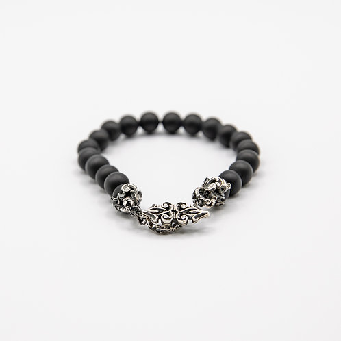 Matt Onyx Bracelet with Hand Engraved Black Rhodium-Plated Silver Clasp