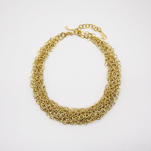 Orlando Orlandini Intertwined 18k Yellow Gold Hoop Necklace
