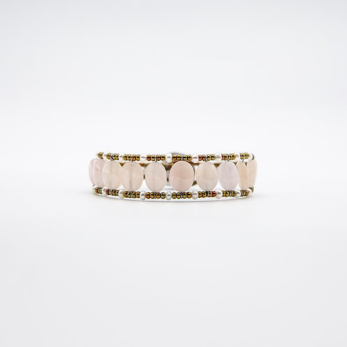 Ziio Silver Bracelet with Morganite and Freshwater Pearls