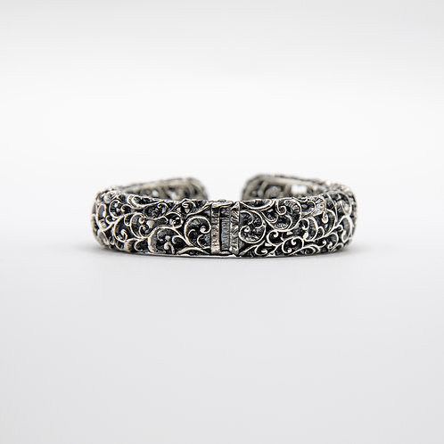 Hand Engraved Black Rhodium-Plated Silver Large Cuff Bracelet