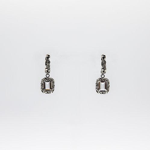 Hand-Engraved Black Rhodium Silver Earrings with Rectangular-Cut Quartz