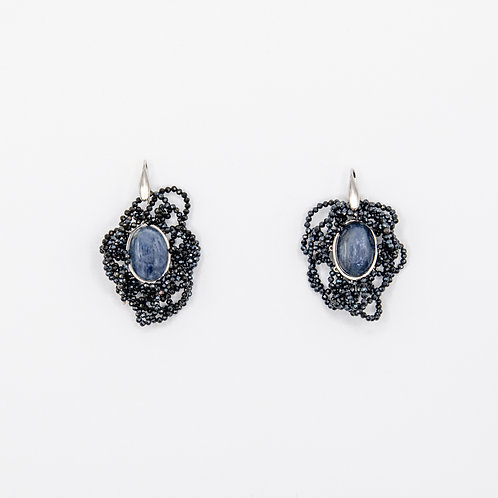Kyanite Earrings with Spinels
