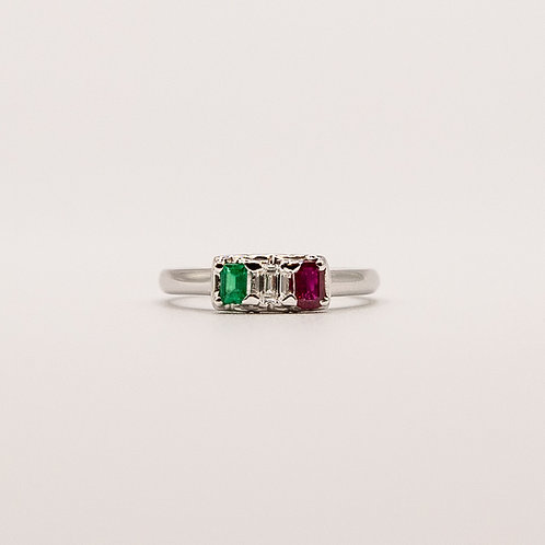 ItalianFlag Ring (Emerald 0.125 ct Ruby 0.2 ct)