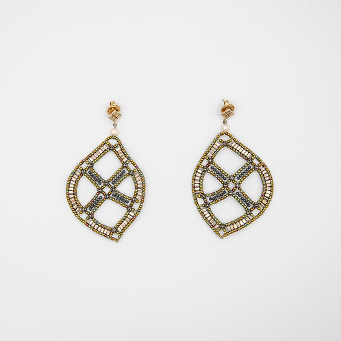 Ziio Leave-Shaped Silver Earrings with Murano Glass and Pearls