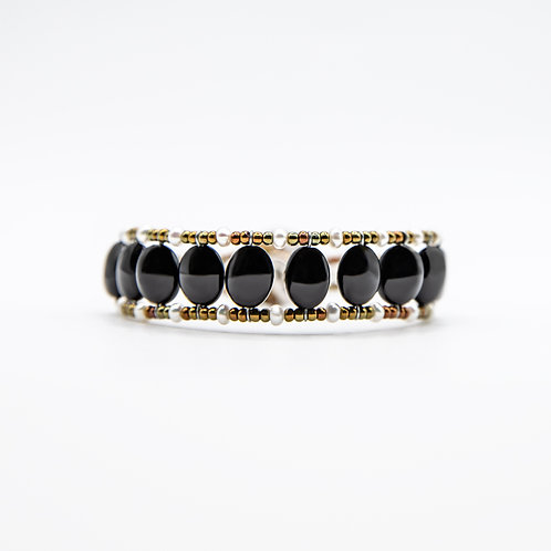 Ziio Silver Bracelet with Onyx and Freshwater Pearls
