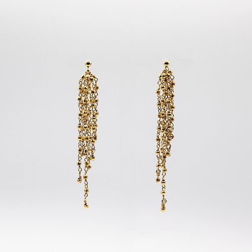 Earrings with Chains and Spheres in Yellow Gold Laminated Silver