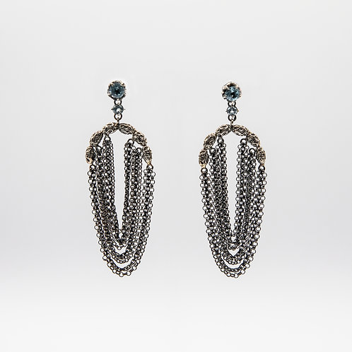 Black Rhodium Silver Earrings with 9 Blue Topaz Lobe Chains