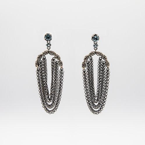 Black Rhodium Silver Earrings with 9 Blue Topaz Lobe Chains