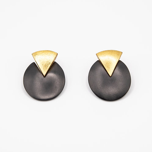 Monies Oval Ebony Earrings with Triangles of Gold Foil and Clip Closure
