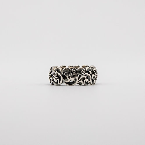 Black Rhodium-Plated Silver Ring with Floral Motifs