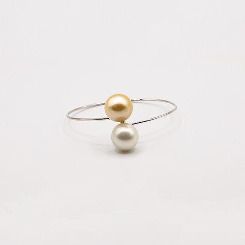 Australian South Sea Golden and White Pearl Bracelet in White Gold