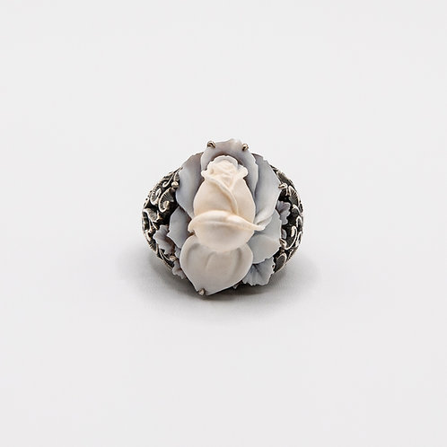 Black Rhodium Silver Band with Hand Engraved Rose-Shaped Cameo