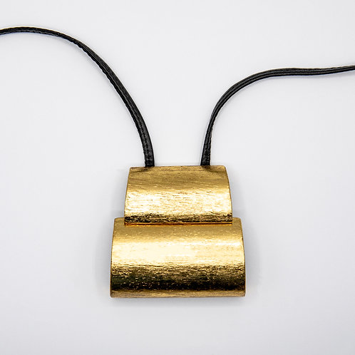 Monies Long Leather Necklace with Layered Trapezoid in Acacia and Gold Foil
