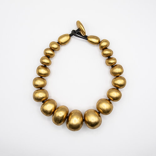 Monies Genuine Leather Necklace with Acacia Balls with Gold Foil