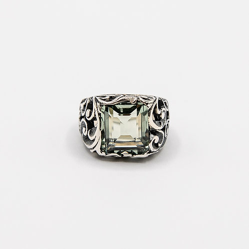 Black Rhodium-Plated Silver Ring with Emerald-Cut Prasiolite