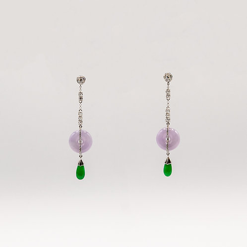 Earrings of Lavender Jade with Drops of Imperial Jade joined by Diamonds