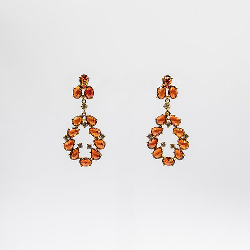 Gold Laminated 925 Silver Earrings with Orange Zircons