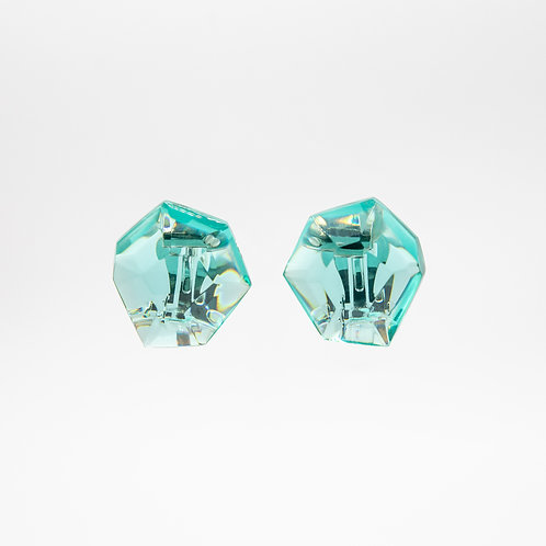 Monies Hailey Earrings in Transparent Green Polyester