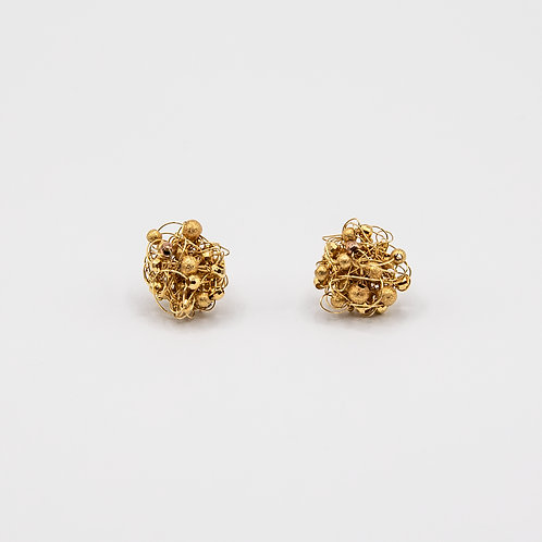 Gold Earrings Intertwined with Gold Wires and Faceted Spheres