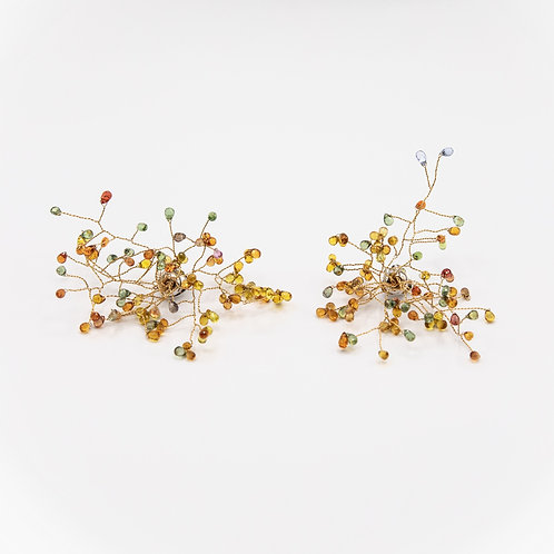 18k Yellow Gold Branch Earrings with Faceted Briolette Multicoloured Sapphires