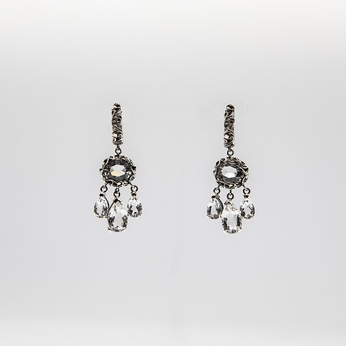 Hand-Engraved Black Rhodium Silver Drop Earrings with Quartz