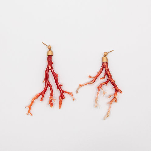 Japanese Coral Branch Earrings in Rose Gold