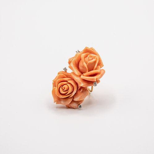 Gold Ring of Pink Coral Roses and Diamonds