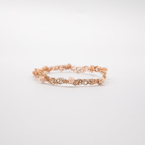 Rose Gold Laminated Silver Wire Bracelet with Roses