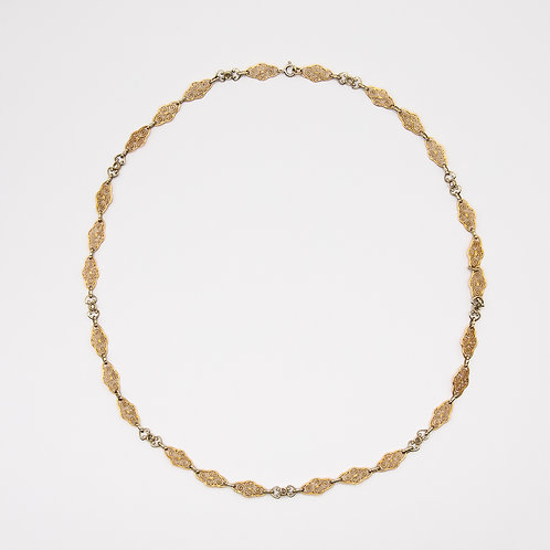 Hand-Engraved 18k Yellow Gold Choker Necklace with Diamonds