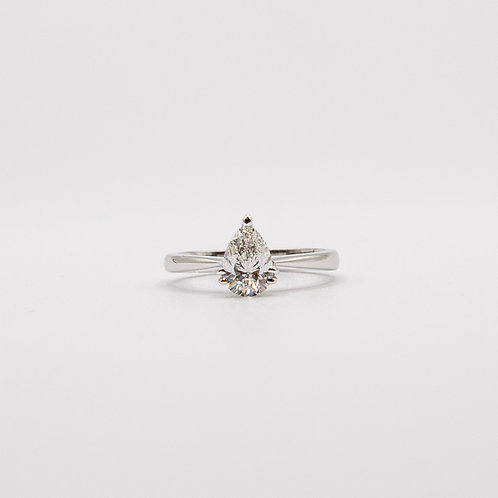 Pear Cut Solitaire GIA VS2 F Diamond Ring in White Gold