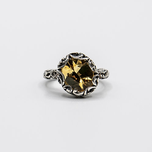 Hand Engraved Black Rhodium-Plated Silver Ring with Faceted Oval Citrine