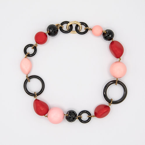 Amlé Bone Choker with Red, Pink and Black Spheres