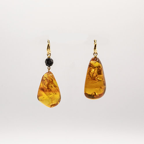 Dominican Amber Earrings with Ebony and Gold Insert