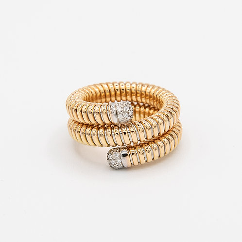 Double-Round Yellow Gold Band with Rose Gold Snake and White Gold Pavé Diamonds*