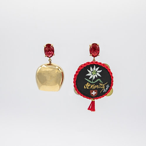 Amlé Switzerland Themed Earrings with Hand Painted Neapolitan Tambourine
