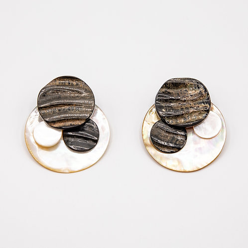 Monies Disc Earrings of Mother of Pearl with Ebony Overlays and Clip Closure