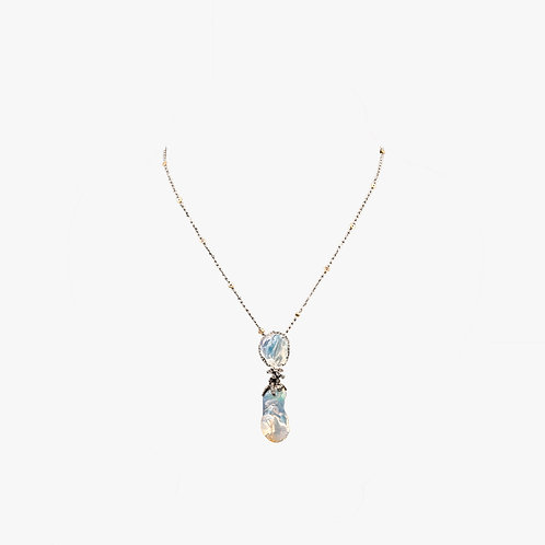 Australian Opal Necklace with Sapphire Edge with Blue Rhodium Griffes