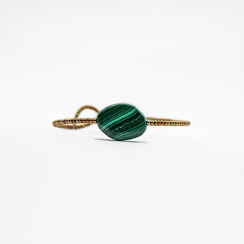 Ziio Brass Bracelet with Malachite and Murano Glass
