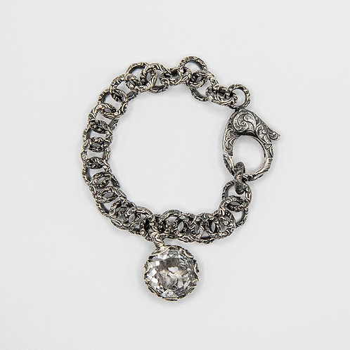 Hand Engraved Black Rhodium-Plated Silver Bracelet with Quartz Charm