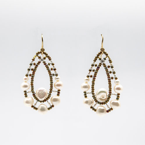 Ziio Silver Earrings with Natural Stones and Fresh Water Pearls