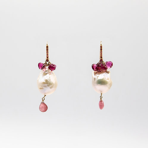 Baroque Pearl Rose Gold Earrings with Briolette Cut Tourmalines and Rubies