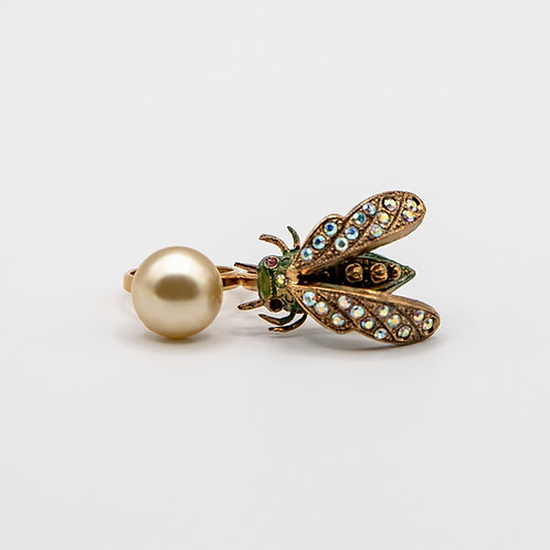 Ornella Bijoux Double Insect Ring with Pearl