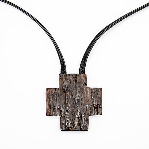 Monies Genuine Leather Necklace with Ebony Cross Pendant (Unique Piece)