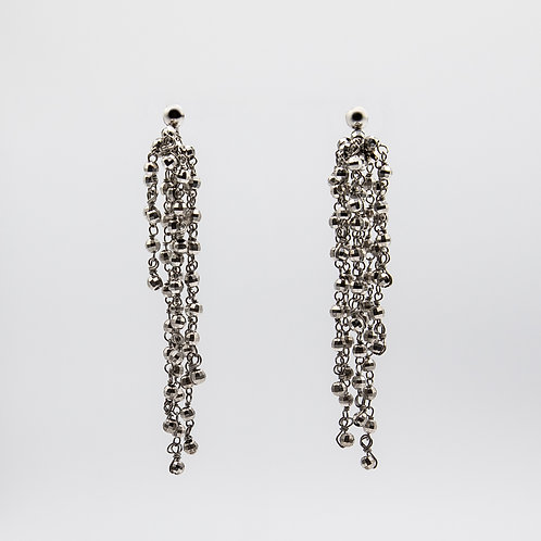 Earrings with Chains and Spheres in 925 Silver