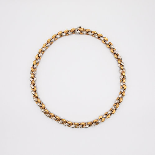 Short Necklace of Interwoven 18k White Gold and Yellow Gold
