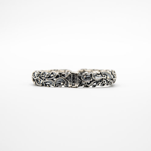 Hand Engraved Black Rhodium-Plated Silver Cuff Bracelet