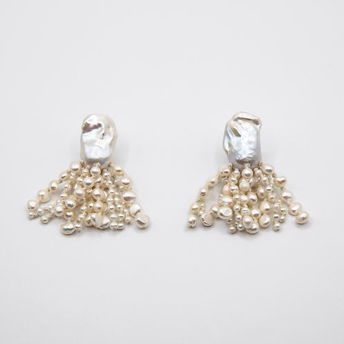 Monies Earclips of Baroque and Fresh Water Pearls